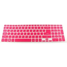 Bodu Colored Silicone Keyboard Cover Protector Skin for Acer Timeline 5830T Aspire Ethos 5951G 8951G Aspire E15 E1-522 E1-532 E1-570G E1-572G E5-551G P273 V3-551G V3-571G V3-731G V3-771G(Pink)