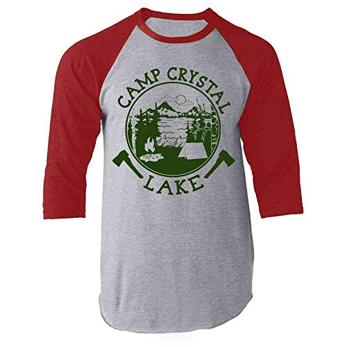 Camp Crystal Lake Counselor Shirt Costume Staff Red L Raglan Baseball Tee Shirt]()