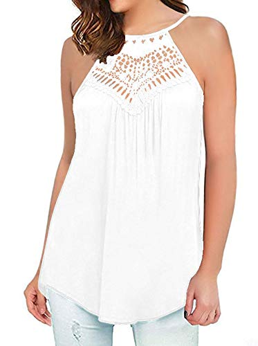ONLYSHE Lace Tank Top for Women Casual Sleeveless Flowy Flare Hem Basic Vest Top White XL