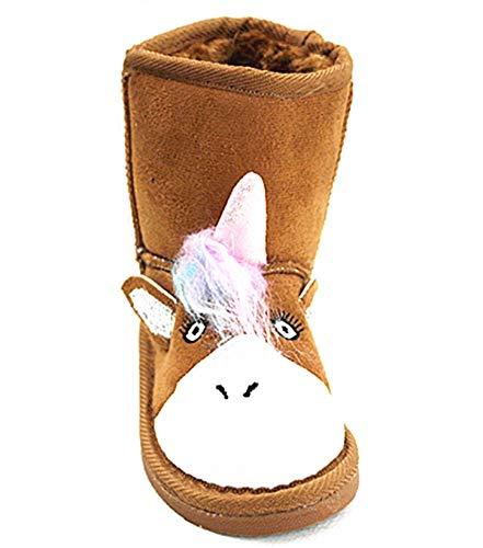 Boot Animal (SF Girls Kids Unicorn Animal Character Slippers Winter Boots (3 M US Little Kid, Camel-58))