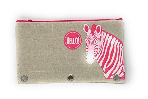 - Burlap Fashion Pencil Pouches with 3 Holes for Binder (Zebra)
