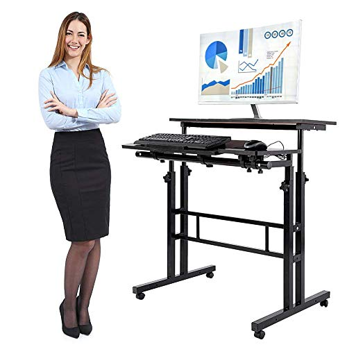 - GOTOTOP Mobile Stand Up Desk/Height Adjustable Computer Work Station Rolling Presentation Cart