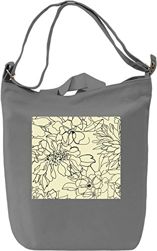 Flowers Print Borsa Giornaliera Canvas Canvas Day Bag| 100% Premium Cotton Canvas| DTG Printing|
