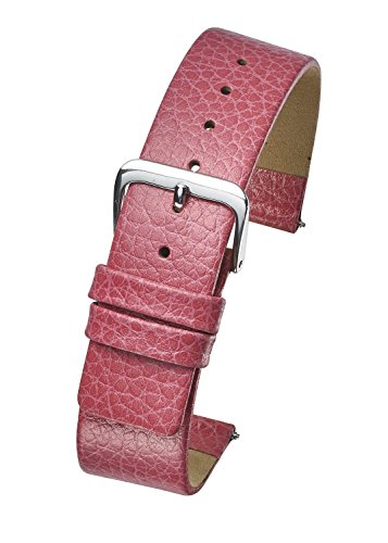 Genuine Leather Watch Band - Smooth Flat Leather Watch Strap 12mm - Pink