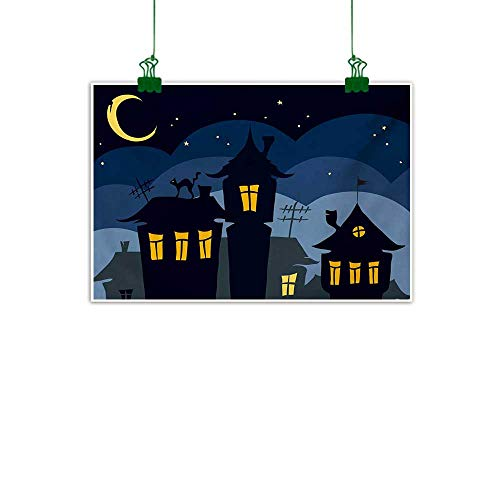 Halloween,Wall Artwork Old Town with Cat on The Roof Night Sky Moon and Stars Houses Cartoon Art Kitchen Wall decorBlack Yellow Blue W 36