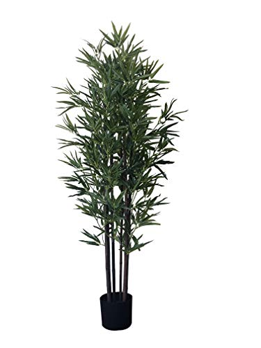 AMERIQUE 5.3 Feet Gorgeous & Dense Bamboo Tree Artificial Plant with Black Trunks, in Nursery Pot, Real Touch Technology, 6 Stalks & 1152 Leaves, Green