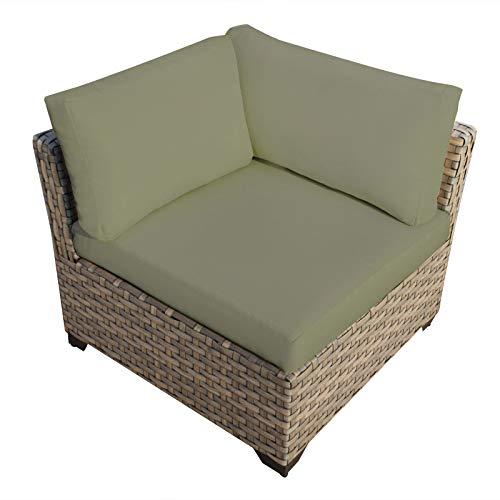 Delacora TKC015b-CS-CILANTRO Monterey Outdoor 32 Inch Wide Aluminum Framed Acrylic Upholstered Outdoor Corner Chair for Sectional TKC-DPF-MONT03b