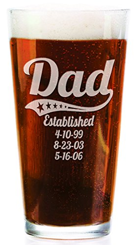 Personalized Daddy Pub Glass with Kids Birthdates 16 Oz Fathers Day Beer Mug for Grandpa, Dad, Papa, American Dad, Hero, Birthday Christmas (Father Christmas Glass)