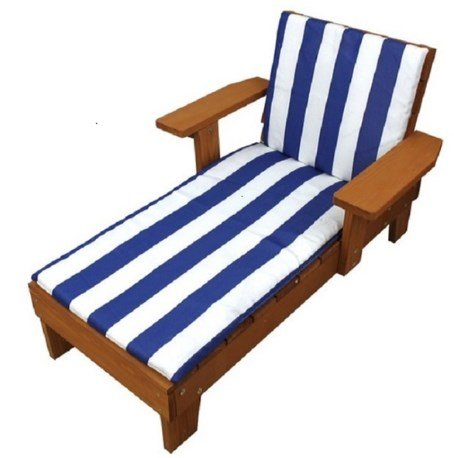Homeware Kid's Wood Blue and White Cushion Outdoor Chaise Lounge Chair, Durable, Weather-resistant, Soft and Comfortable, For Ages 3 and Up, 1000 by Homeware