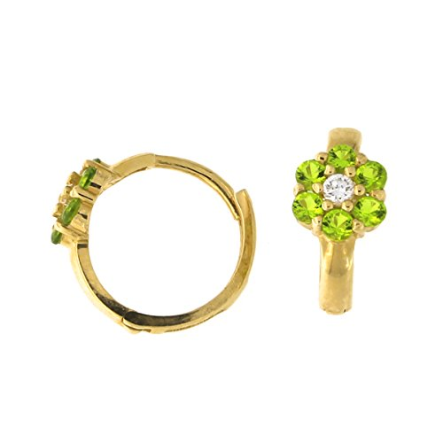 - Kids' 14k Yellow Gold Simulated Peridot and Cubic Zirconia Flower Huggie Hoop Earrings, 12mm