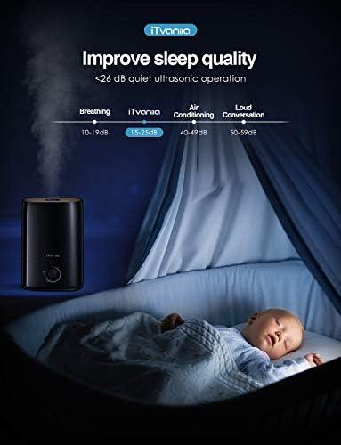 iTvanila Humidificateur d'air bébé, 5L Humidificateur Ultrasonique Silencieux, 40 Heures Temps de Fonctionnement, Nano-revêtement, buse 360 °, Ultra Silencieux, arrêt Automatique