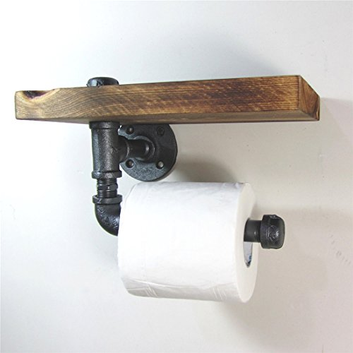 Halloween Decorations Uk Matalan (Vintage Bathroom Decoration-Industrial Style Iron Pipe Toilet Paper Holder Roller With Wood Shelf)