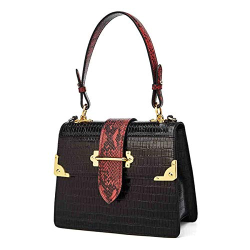 QIWANG Fashion Lady Crocodile Pattern Shoulder Bag Genuine Leather Crossbody Handbag Adjustable Shoulder Strap (black)