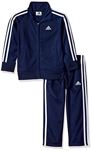 adidas Toddler Boys' Iconic Tricot Jacket and Pant Set, Navy/White, 4T