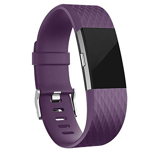 iGK Replacement Bands Compatible for Fitbit Charge 2, Adjustable Replacement Bands with Metal Clasp Special Edition Plum Small