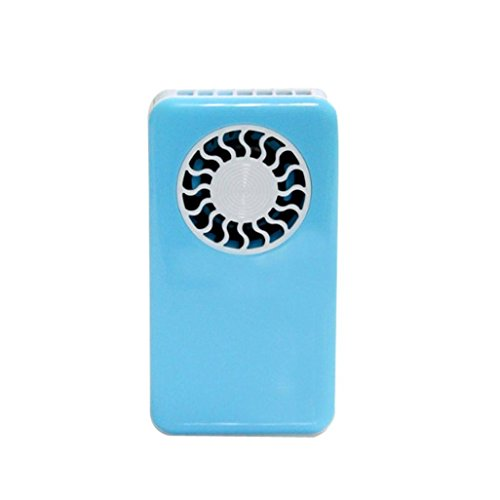 USB Fan, Gotd Mini Handheld Fan with Lanyard,Office Desk USB Mini Fan Personal Fan Portable Air Conditioner Cooler Fan, Runs on Battery, Rechargeable USB Cable for Hot Weather (Blue)