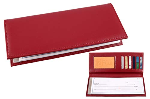 Business Size and Travelers Check Checkbook Cover PU Leather with Built in Storage Pockets for Side Tear Checks - Leather Checkbook Cover Executive
