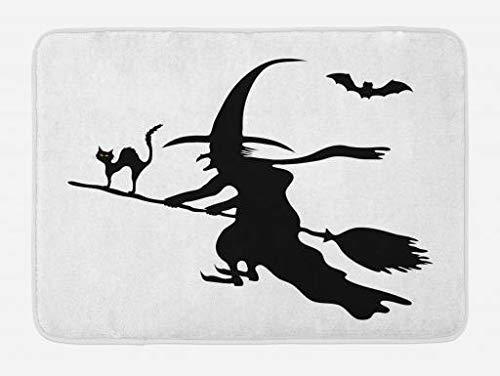 (Han Jun Hua Witch Hello Bath Mat Doormat Abstract Monochrome Halloween Composition with Flying Old Lady Scary Cat and Bat,Antibacterial Door/Bathroom Mats Non Slip Door Mat 23.6X15.7,Black)