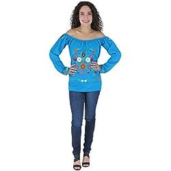 Mexicana Clothing Co – Blusa Mexicana elástica de Hombro Tehuacan Manta CTT, Blue 7277, L