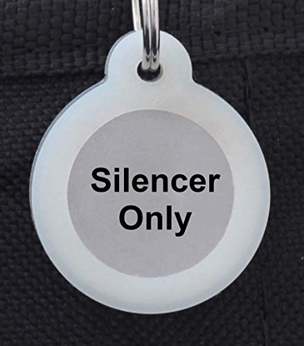 """Double Sided Laser Etched Stainless Steel Pet ID Tag for Dog and Cat Engraved and Personalized 1"""" Round Shape (Silencer Only)"""