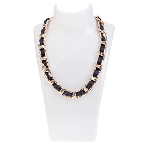 Classy Luxurious Golden Chain Necklace With Black Silken Tape By VAGA®