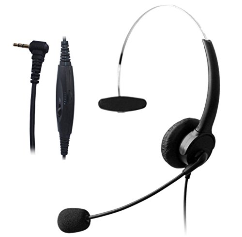 Wantek Wired 2.5mm Headset with Noise Canceling Mic and Volume Mute Control (Ameriphone Amplifier)