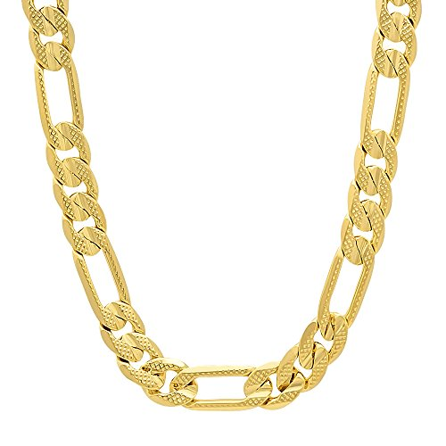 30 Inch 8mm Men's 14k Gold Plated Pressed Figaro Link Chain Necklace