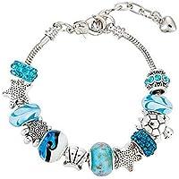 925 Silver DIY Charm Beads Pandora Elements Bracelets ocean style For Women Crystal Jewelry(silver)