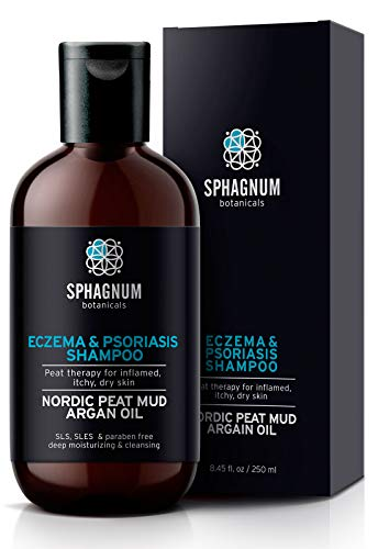 Natural Eczema and Psoriasis Shampoo - Peat Mud Treatment 100% Free from Cancerous Coal Tar. Sulfate Free, Itchy Scalp Relief, Anti Dandruff & Dermatitis. Deep Moisturizing & Cleansing With Argan Oil