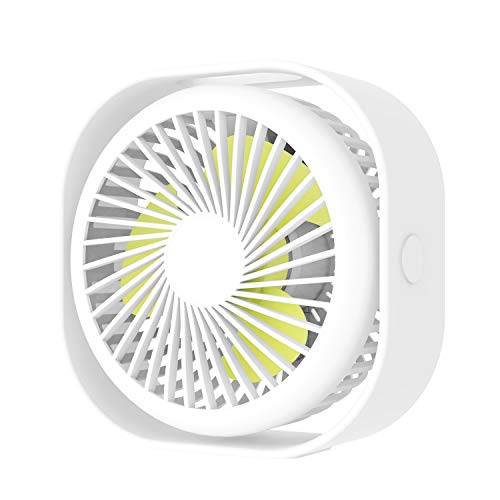 Portable Desk USB Fan,Mini Stroller Table Fan with USB Rechargeable Battery Small Size, 3 Speeds, 360 Rotating Free Adjustment Personal Fan for Home Office and Dorm-White