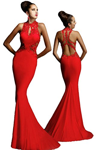 [FQHOME Womens Open Back Fine Flowers Wedding Evening Gown(Red,M)] (Group Dressing Up Ideas)