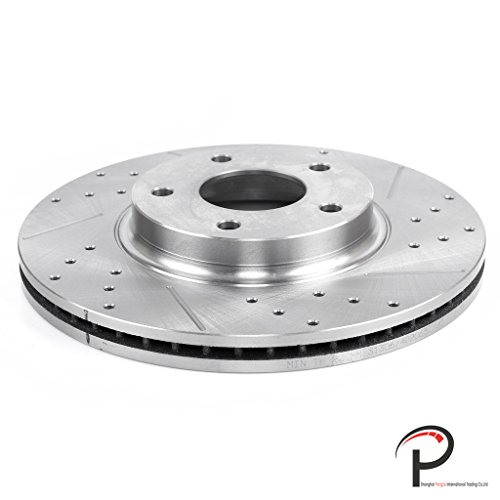 VioGi New Front Right Drilled Slotted Vented Brake Rotor Disc 5 Lugs Fit Infiniti 2002-2004 I35 2003-2005 G35 Nissan 2002-2006 Altima 2002-2003 Maxima 2003-2005 350Z w/ Standard Calipers (02 03 Slotted Brake Rotors)