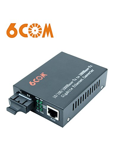 (6COM Gigabit Ethernet Media Converter, 1.25Gb/s Single-mode SC Fiber, 10/100/1000Base-TX to 1000Base-LX, up to20km )