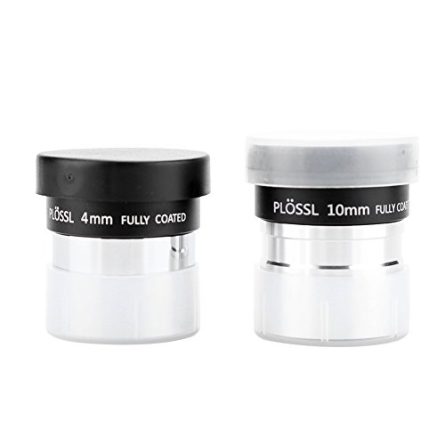 4mm 10mm Focus Multi Coated 1.25'' Plossl Eyepieces Set Ultra Wide Angle Telescope Eyepiece Lens With Plastic Case for Astronomical Telescopes Accessory Kit 2pcs by Vbestlife