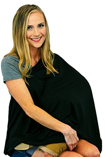 (Wearable Infinity Nursing Cover for Breast-Feeding Moms by Tykes & Tails - Onyx Black Solid Pattern. Multi-Use as Scarf, Burp Cloth, Changing Pad, or Blanket)