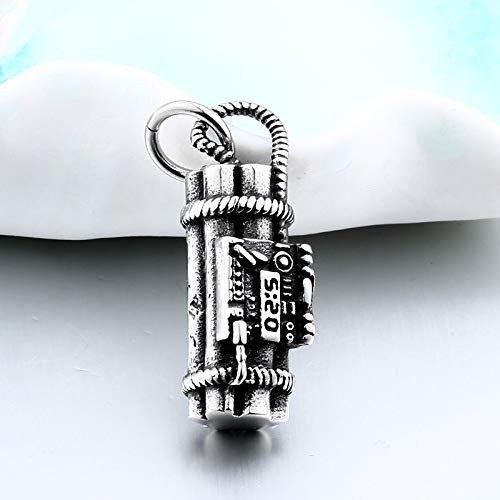 Davitu Time 5:20 Bomb Pendants Men Necklaces Stainless Steel Sports Hand Grenades Romantic Couple Personality Jewelry Love Gift LHP026 Metal Color: LHP026
