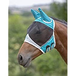 Shires Fine Mesh Horse Equine Fly Mask with Ears 60% UV Protection (Small Pony, Teal)