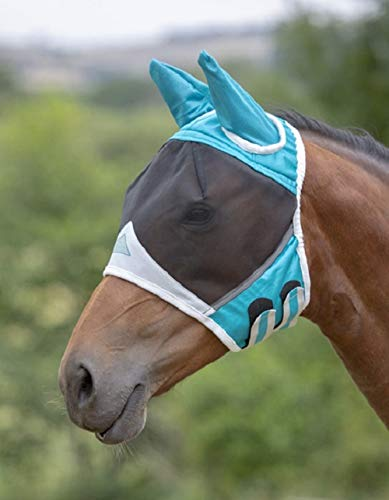 Draft Horse Fly Mask - Shires Fine Mesh Horse Equine Fly Mask with Ears 60% UV Protection (Full, Teal)