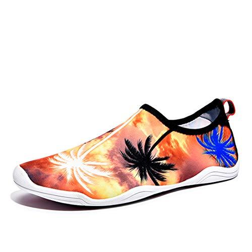 APTRO Womens/Mens Quick Drying Water Shoes for Beach Swimming Yoga Aqua Socks Palm Tree Orange 41