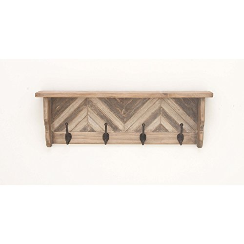 Benzara Wood Decorative Wall Hooks Bm118815 Benzara Exemplifying Elegance Wood Shelf Wall Hook 32 X 10 X 4 Inches Brown
