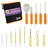 Halloween Haunters Ultimate 14 Piece 18 Cut Professional Pumpkin Carving Tool Kit - NEW Improved All Sharp Edge Tools - Easily Carve Realistic Life-Like Jack-O-Lanterns - 18 Cuts, Scoops, Saws, Loops