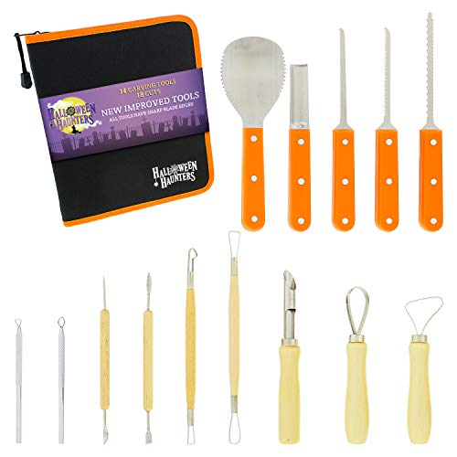 Halloween Haunters Ultimate 14 Piece Professional Pumpkin Carving Tool Kit - Easily Carve Sculpt Halloween Jack-O-Lanterns - 18 Cuts, Scoops, Scrapers, Saws, -