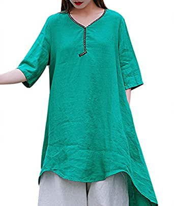 YESNO Women Casual Blouse Tops Button Down Shirts Chinese Traditional Frogs Curved Hemline EG6 - Green - Medium