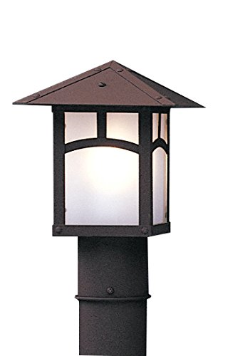 Arroyo Craftsman EP-7AF-BK Evergreen Post Mount with Classic Arch Overlay and Frosted Glass, 7