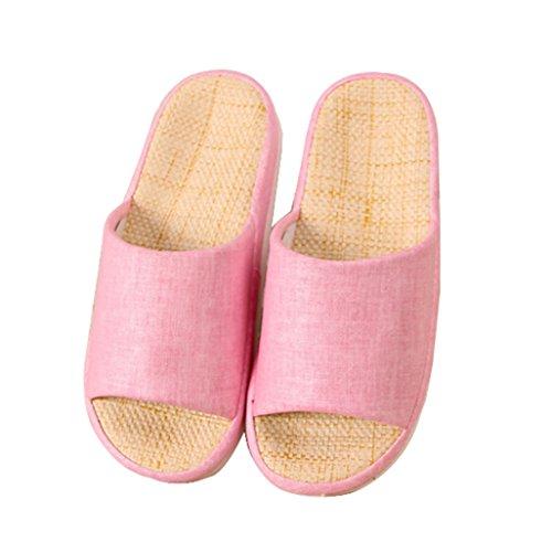 Bronze Times (TM) Unisex Four Season Indoor Cotton Flax House Slippers Pink JxEtQi