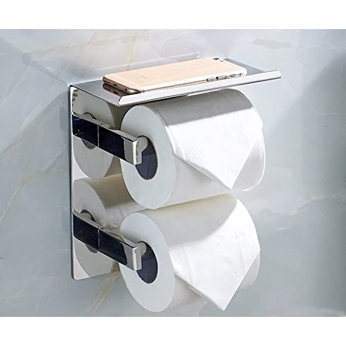 Vivian Stainless Steel Double Roll Toilet Paper Holder Self Adhesive Wall  Mount Paper Towel Dispenser Tissue
