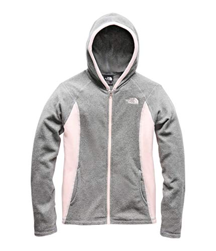 The North Face Kids Girl's Glacier Full Zip Hoodie (Little Kids/Big Kids) TNF Medium Grey Heather/Pink Salt Large ()