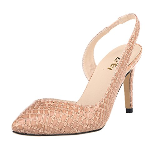 ZriEy Women's Pointed Toe Mid Heel Sexy Wedding Party Sandals Pumps Shoes Patent Leather Crocodile Grain Nude size 9