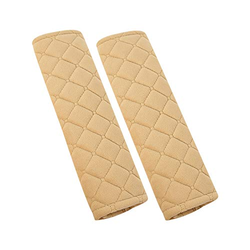 U&M 2pcs Seat Belt Covers, Soft Velvet Feel Car Belt Protector Shoulder Seatbelt Pad for Adults Youth Kids - Car, Truck, SUV, Airplane,Carmera Backpack Straps - by (Beige)