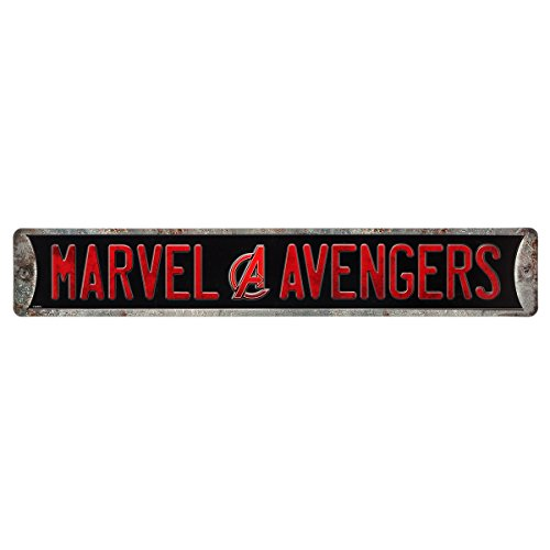 Embossed Street Sign - Open Road Brands Vintage Retro Metal Tin Signs - Marvel Avengers Embossed Street Sign - Great for Man Caves, Garage Art, and Home Decor